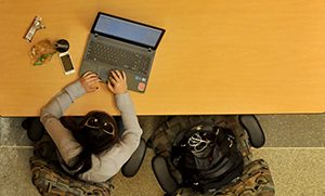 Student works on her laptop in EB1 on Centennial Campus.